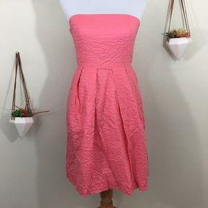 J. Crew Lorelei deco dot pink strapless dress